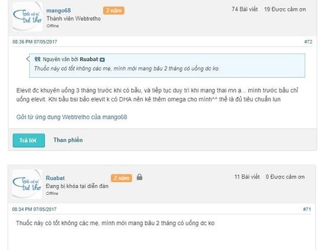 Review Elevit webtretho