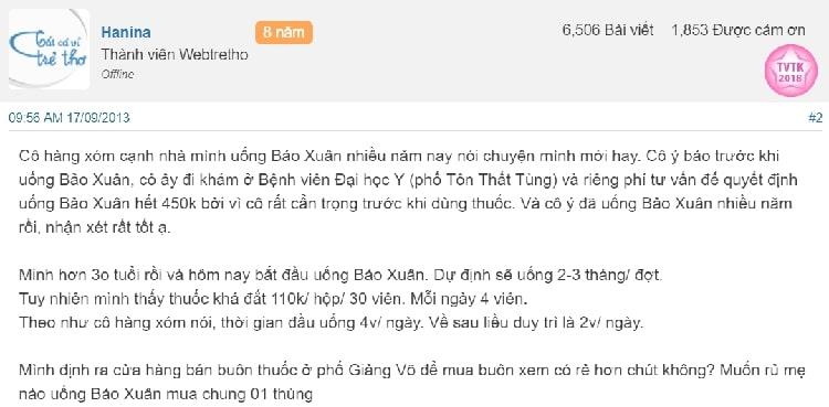 Review viên uống Bảo Xuân
