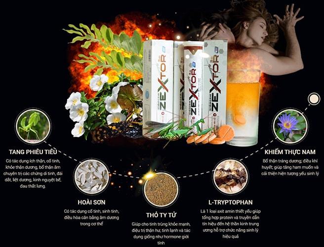 Thành phần viên sủi Zextor tăng cường sinh lý