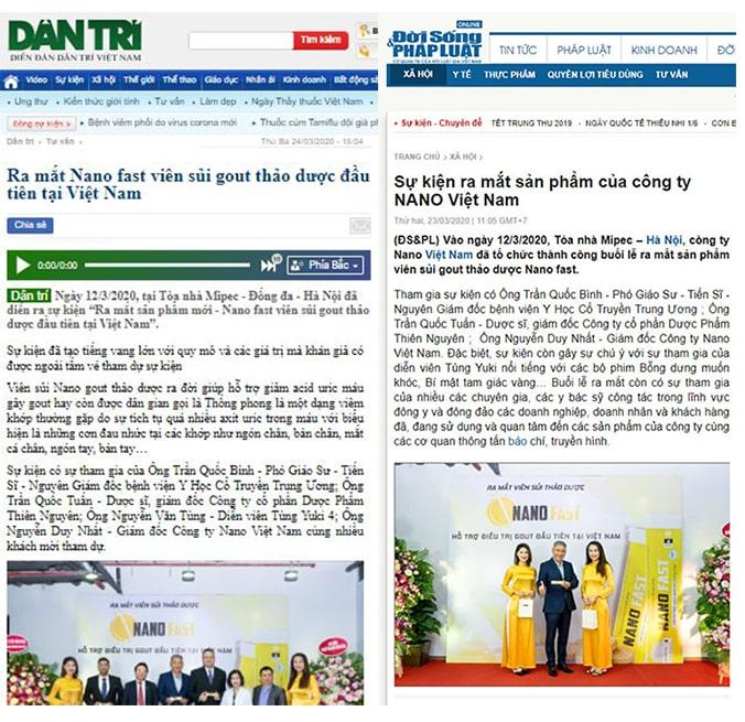 Báo chí đưa tin Gout Nano Fast
